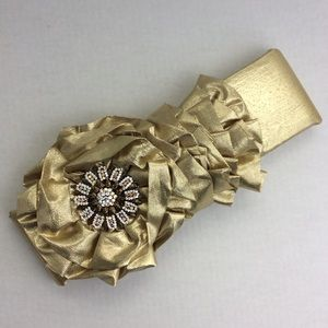 Gold Metallic Headband Hat Vintage Brooch Rosette